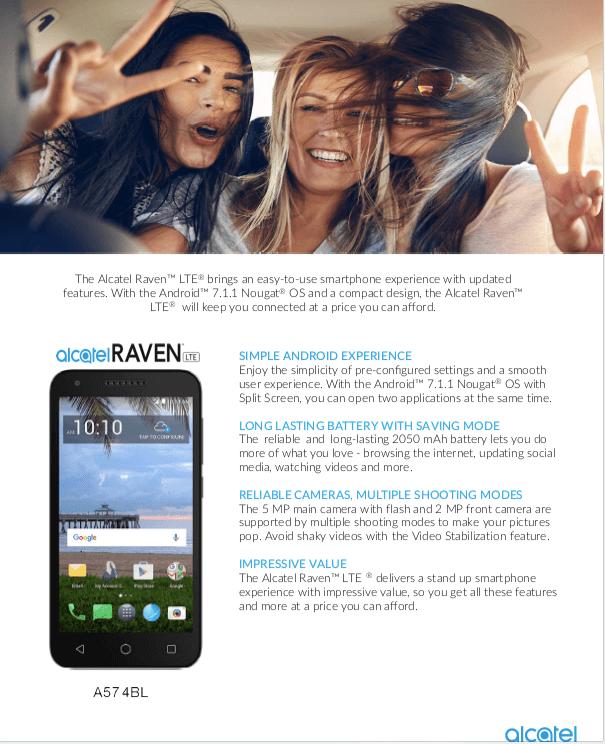 Tracfone Alcatel Raven Prepaid Smartphone - Walmart com