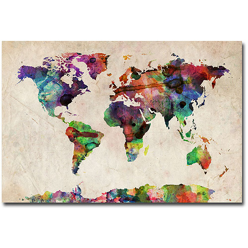 Trademark art world map navy canvas wall art by michael tompsett trademark art urban watercolor world map canvas art by michael tompsett gumiabroncs Gallery