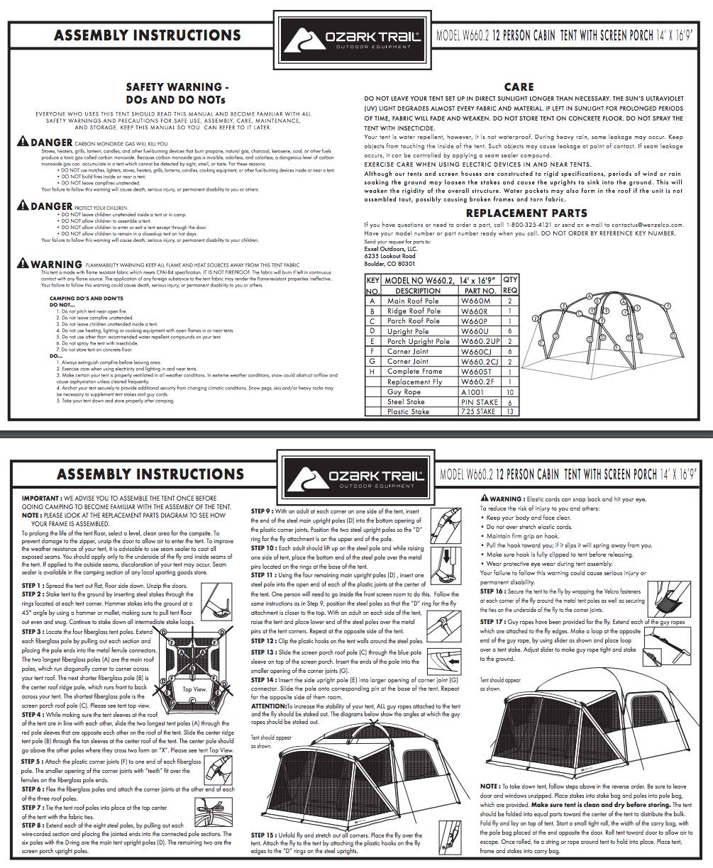 Manuals u0026 Guides  sc 1 st  Walmart.com & Ozark Trail 12-Person Cabin Tent with Screen Porch - Walmart.com