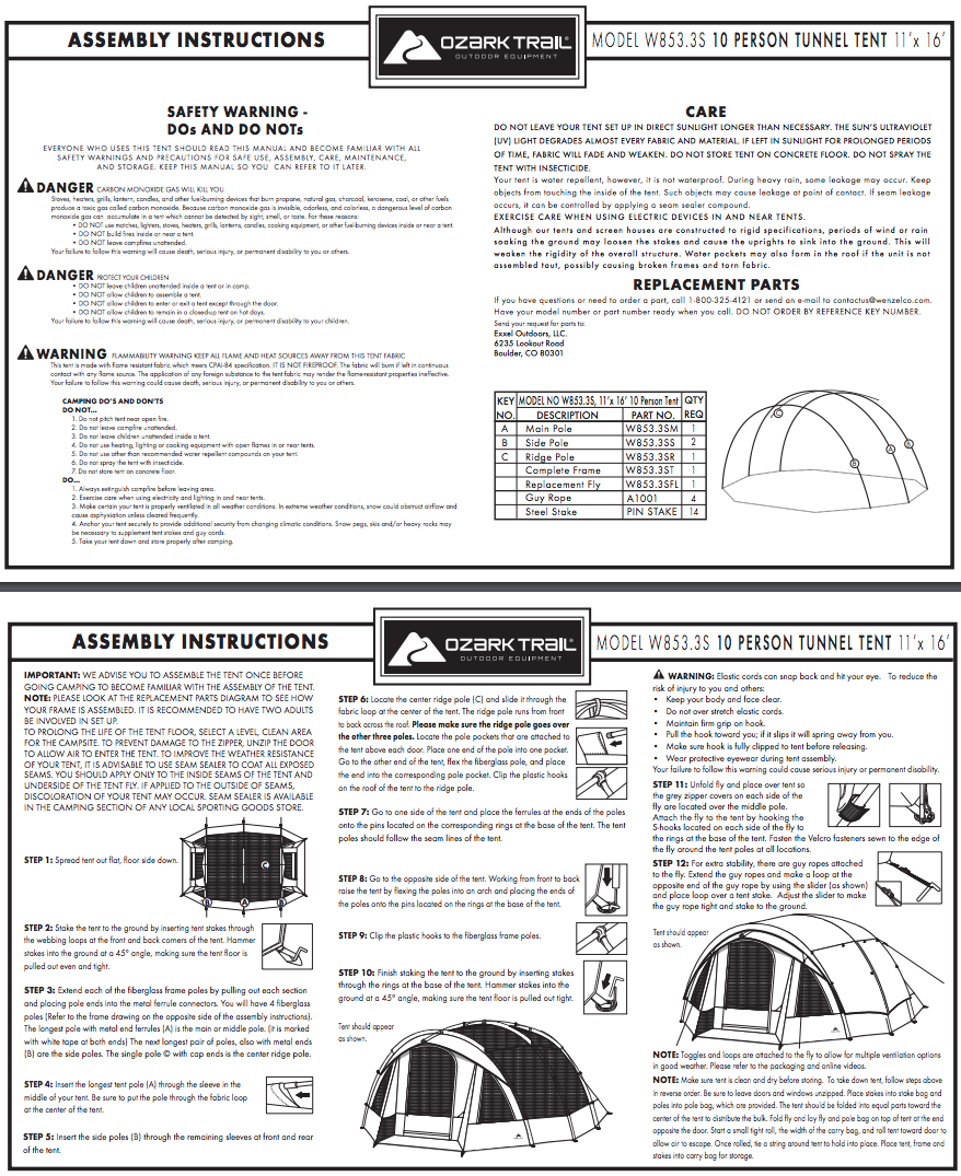 Assembly Instructions u0026 Replacement Parts W853_3S  sc 1 st  Walmart & OZARK TRAIL 10-PERSON FREESTANDING TUNNEL TENT - Walmart.com