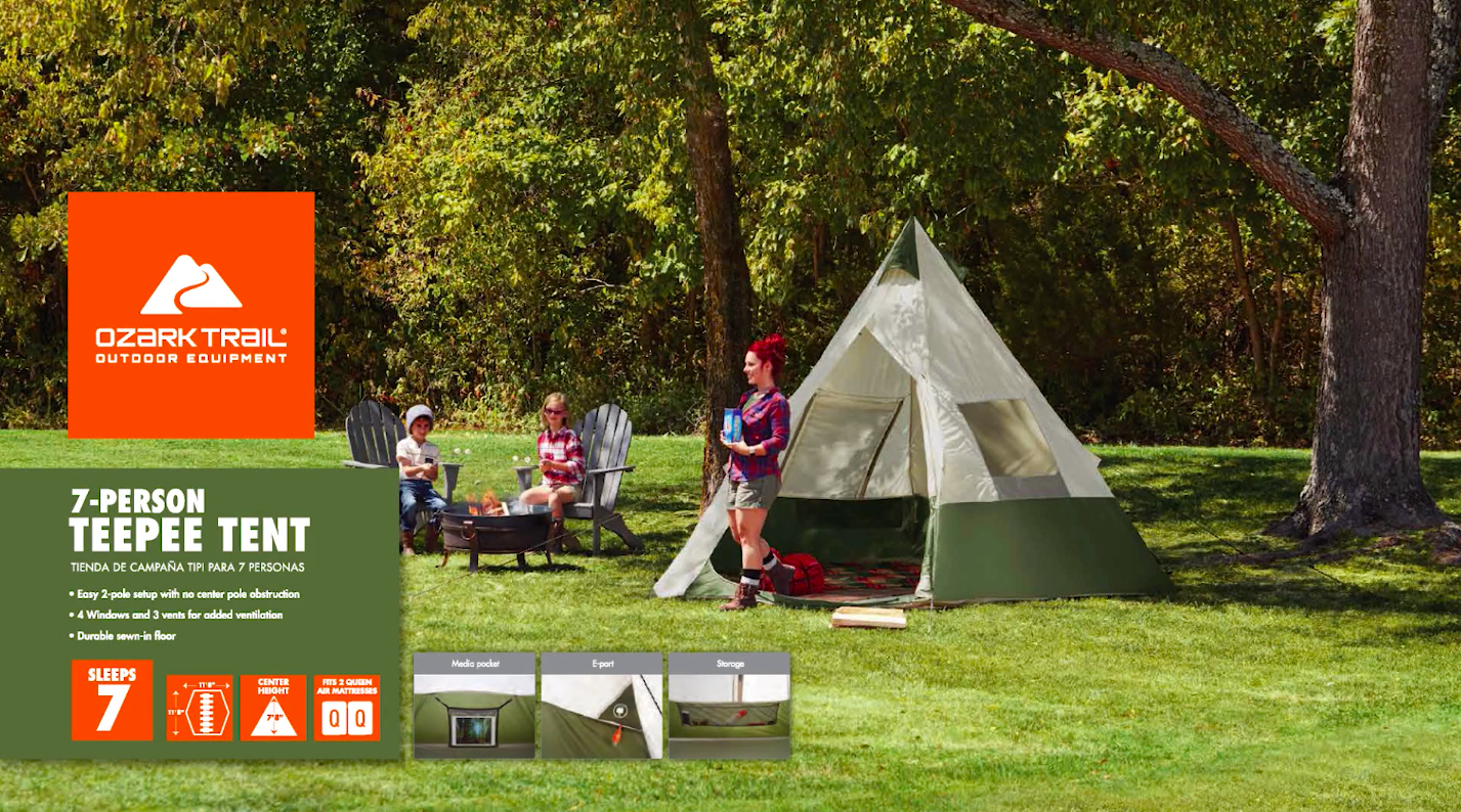 Ozark Trail 7-Person Teepee Tent without Center Pole
