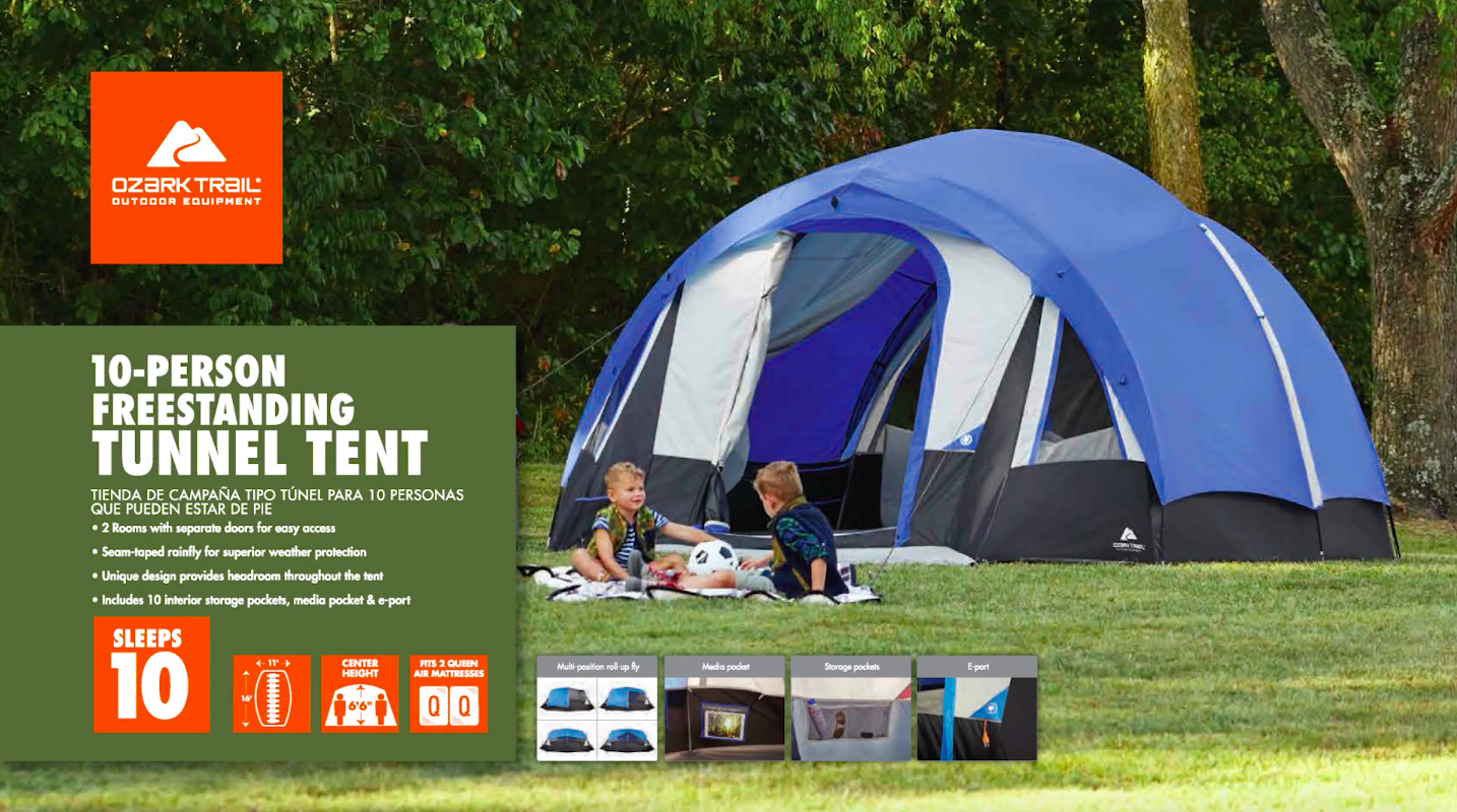 Ozark Trail 10-Person Freestanding Tunnel Tent with Multi-Position Fly - Walmart.com & Ozark Trail 10-Person Freestanding Tunnel Tent with Multi-Position ...