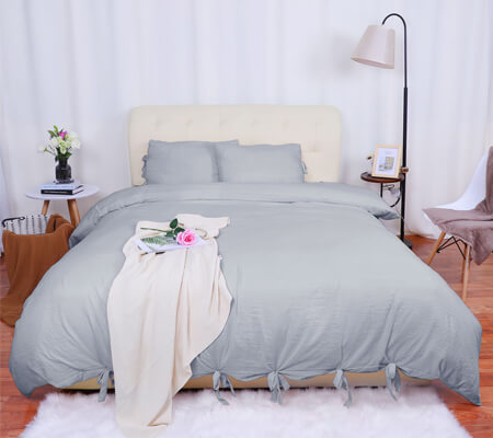 620a1d77b8b Washed Cotton Bedding Duvet Cover Pillowcase Solid Color Queen Light ...