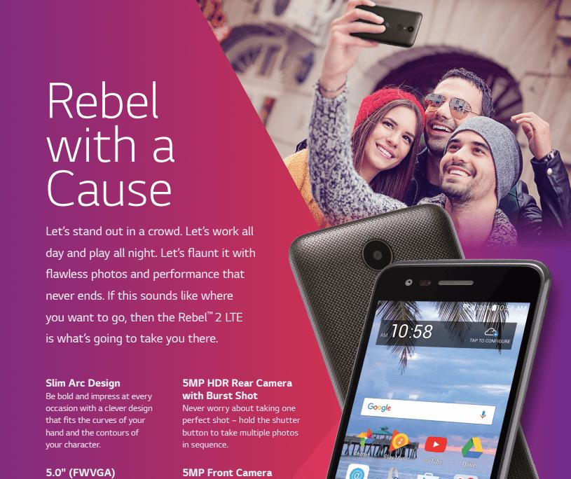 TracFone LG Rebel 2 8 GB Prepaid Smartphone, Black - Walmart com