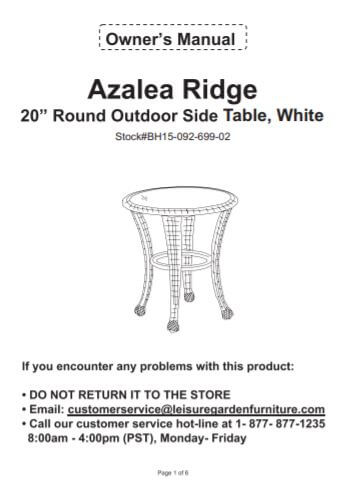 #6218 Side Table White - English Version