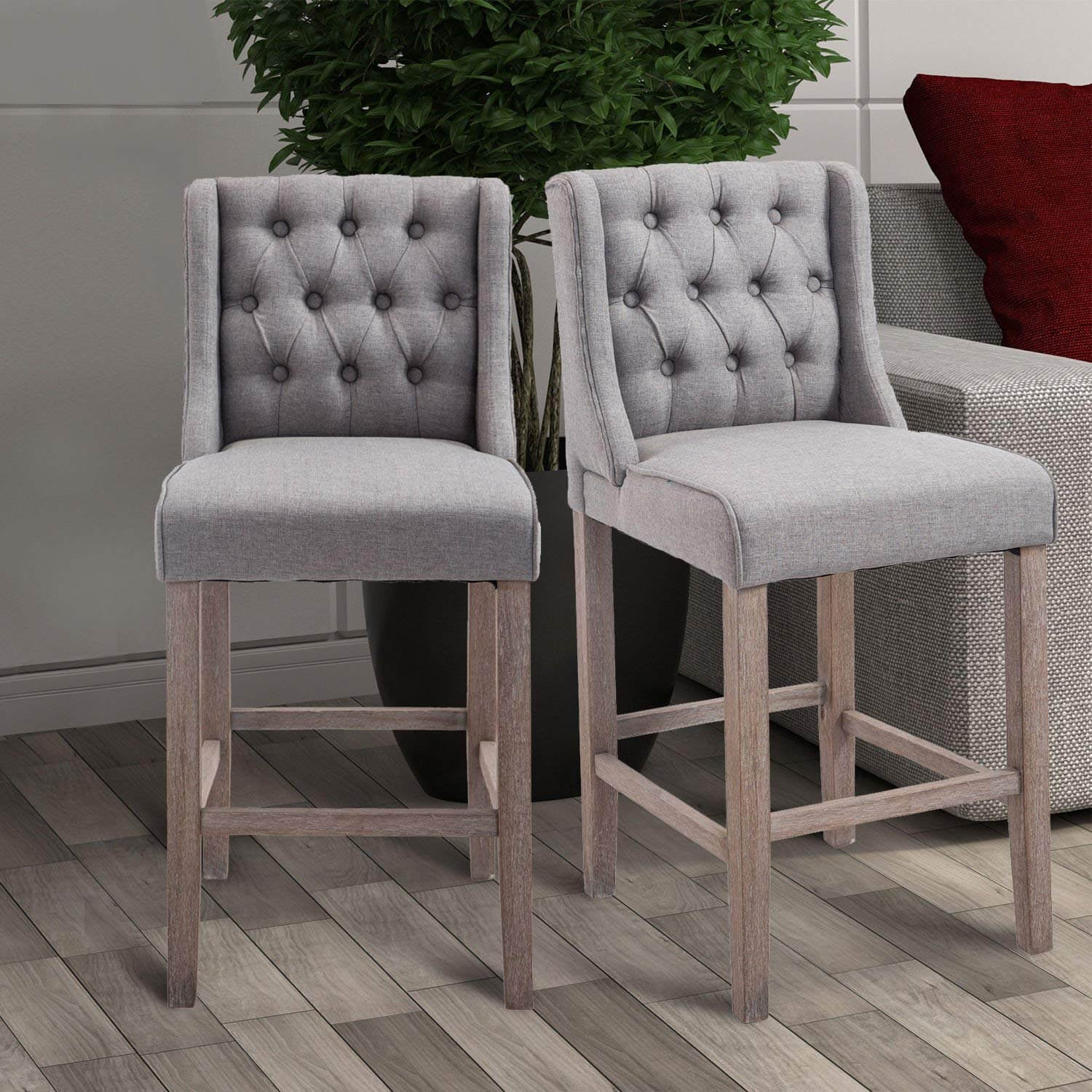 Enjoyable Homcom Tufted Counter Height Bar Stool Set Of 2 Ibusinesslaw Wood Chair Design Ideas Ibusinesslaworg