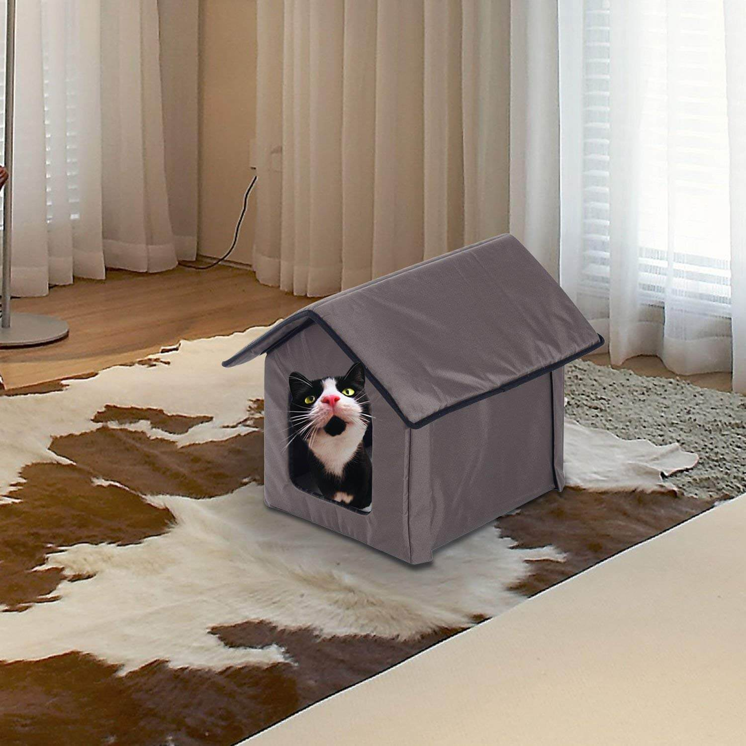 Pawhut Small Outdoor Heated Pad Cat House