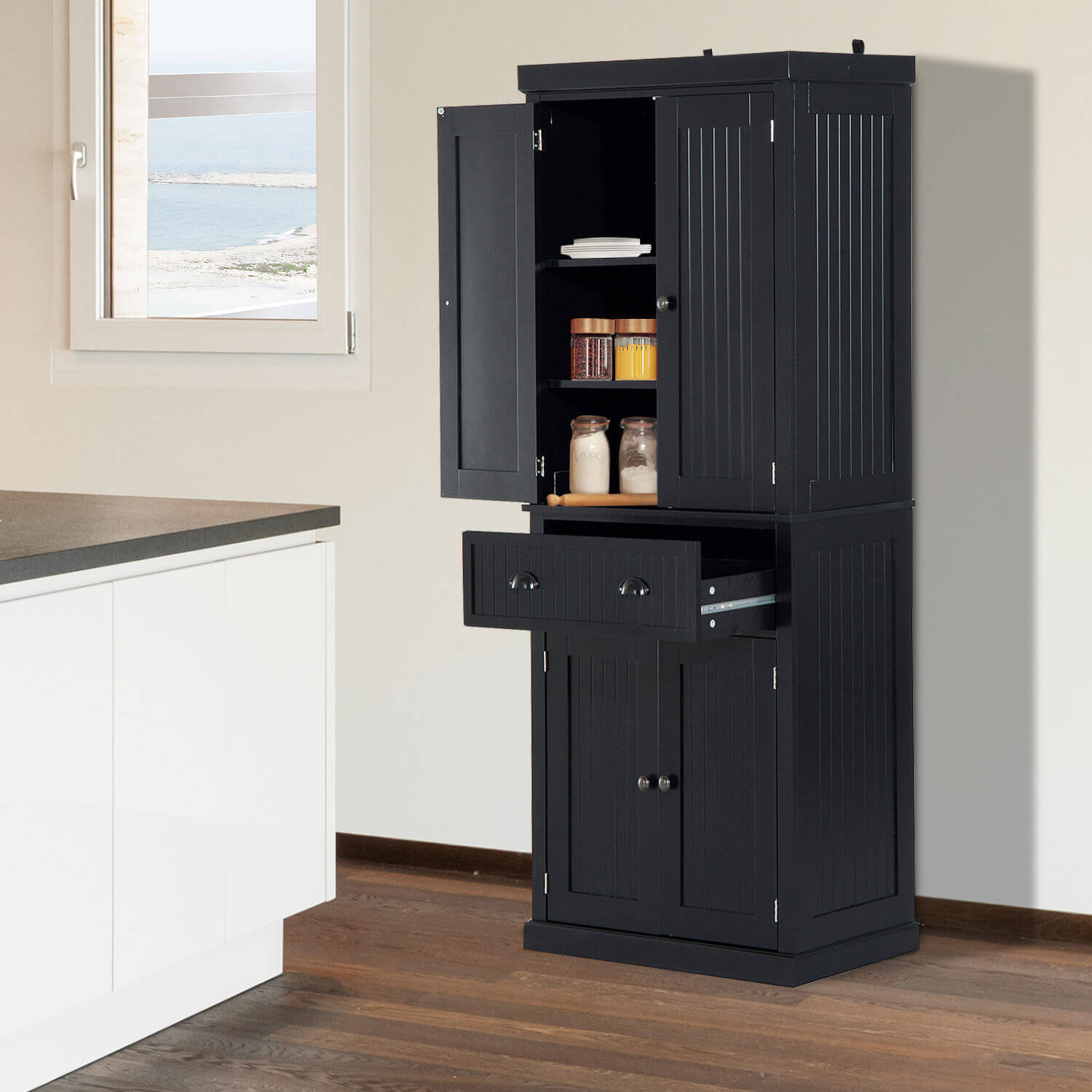 """HOMCOM Tall 72"""" Traditional Colonial Style Standing Kitchen Pantry Cupboard  Cabinet - Black"""