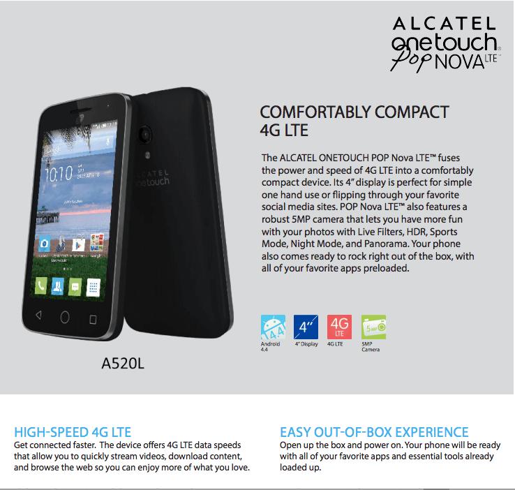 Net10 Alcatel Pop Nova Android Prepaid Smartphone - Walmart com