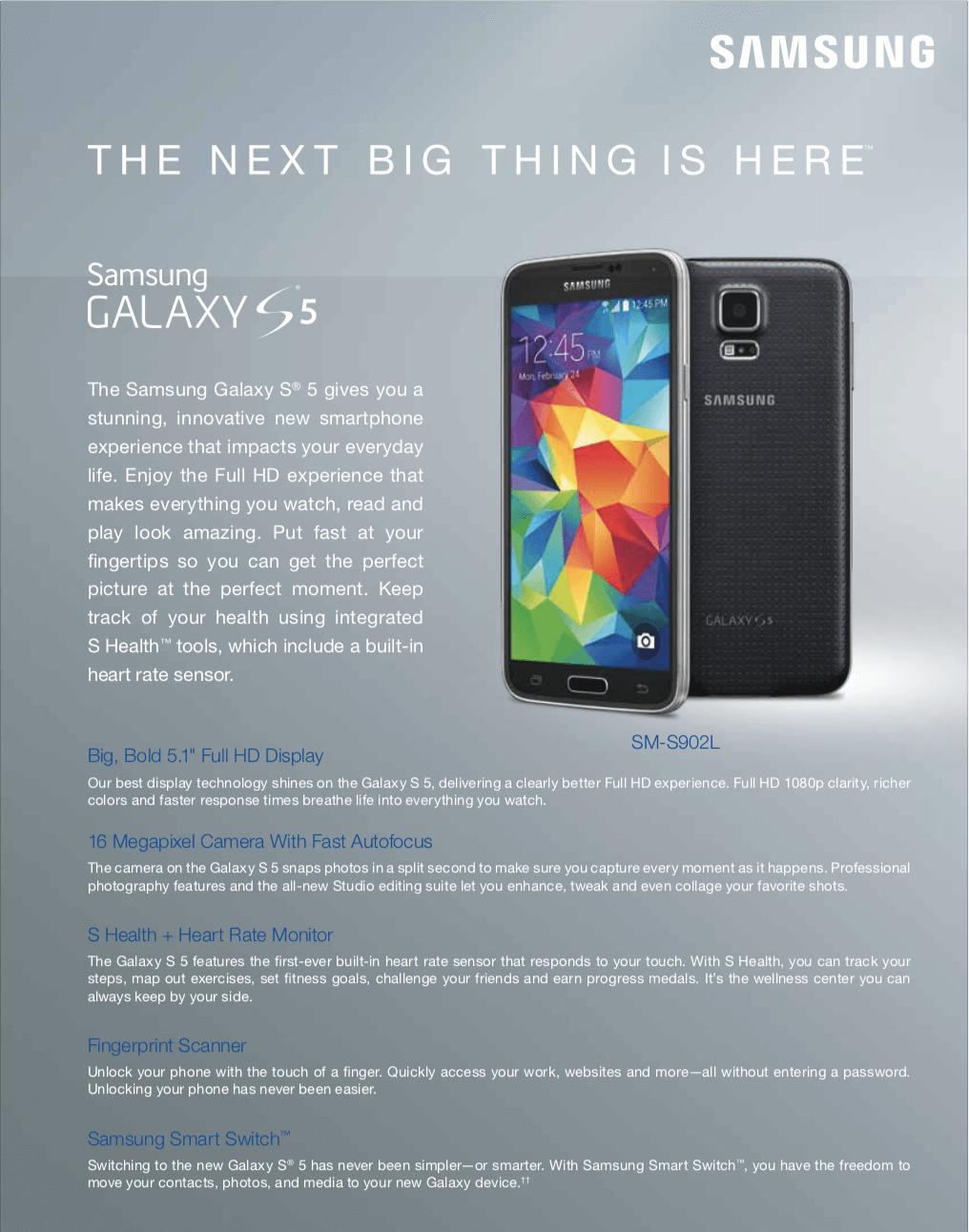 Refurbished Straight Talk Samsung Galaxy S5 16GB Prepaid