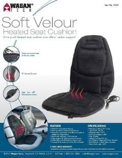 Healthmate 12v Auto Soft Velour Heated Seat Cushion With Lumbar
