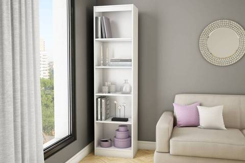 Nice South Shore Smart Basics 5 Shelf Narrow Bookcase, Pure White