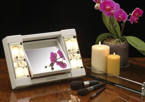 Jerdon 6 Portable Tabletop 2 Sided Swivel Lighted Makeup Mirror