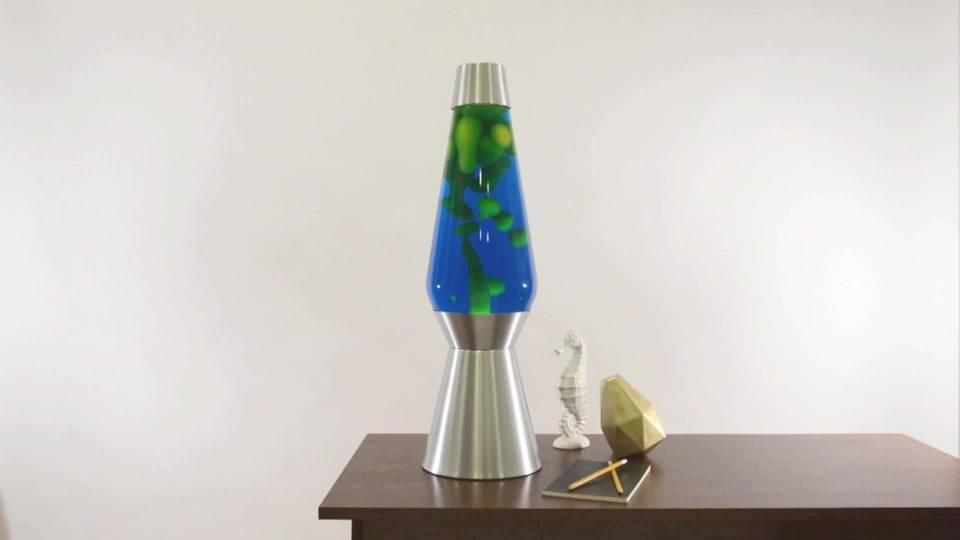 Lava the original 27 inch silver base grande lamp with yellow wax in blue liquid walmart com