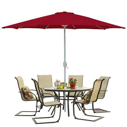 Fit Multiple Individuals Underneath This Polyester Patio Umbrella And Enjoy  Each Otheru0027s Company Without The Interference Of The Sunu0027s Blinding Rays.