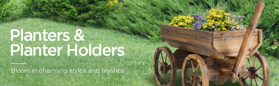 Best Choice Products Wooden Wishing Well Bucket Planter Walmart Com
