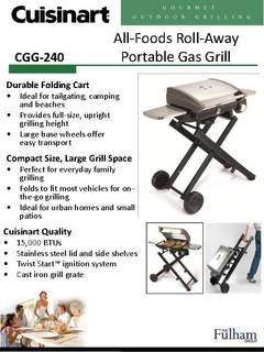 Superieur Cuisinart All Foods Roll Away Portable Outdoor Gas Grill   Walmart.com