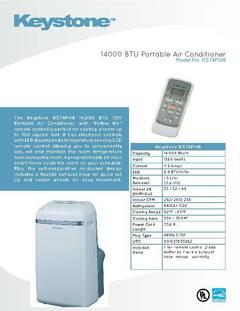 Keystone KSTAP14B 14000 BTU 115 Volt Portable Air Conditioner With Follow  Me Temperature Sensing Remote   Walmart.com