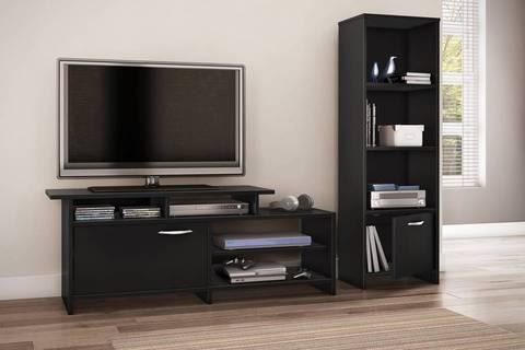 South Shore SoHo Collection 2 Shelf Bookcase/Media Storage, Pure Black