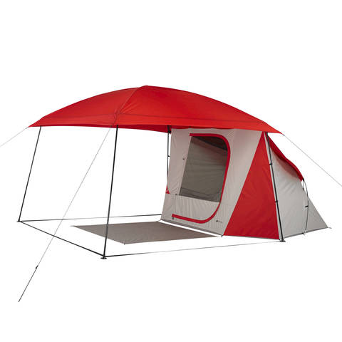 Canopy with only one tent clipped in  sc 1 st  Walmart.com & Ozark Trail 8-Person Dome ConnecTent with Versatile Canopy ...