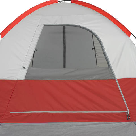 The tent can be entered thru door inside the vestibule area or thru a door in the rear of the tent. & Ozark Trail 4-Person Dome Tent with Vestibule and Full Coverage ...